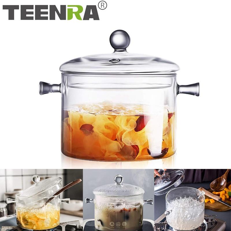 TEENRA бытовой прозрачный стеклянный суповый горшок, кухонный термостойкий горшок для каши, домашняя стеклянная миска, кухонные инструменты