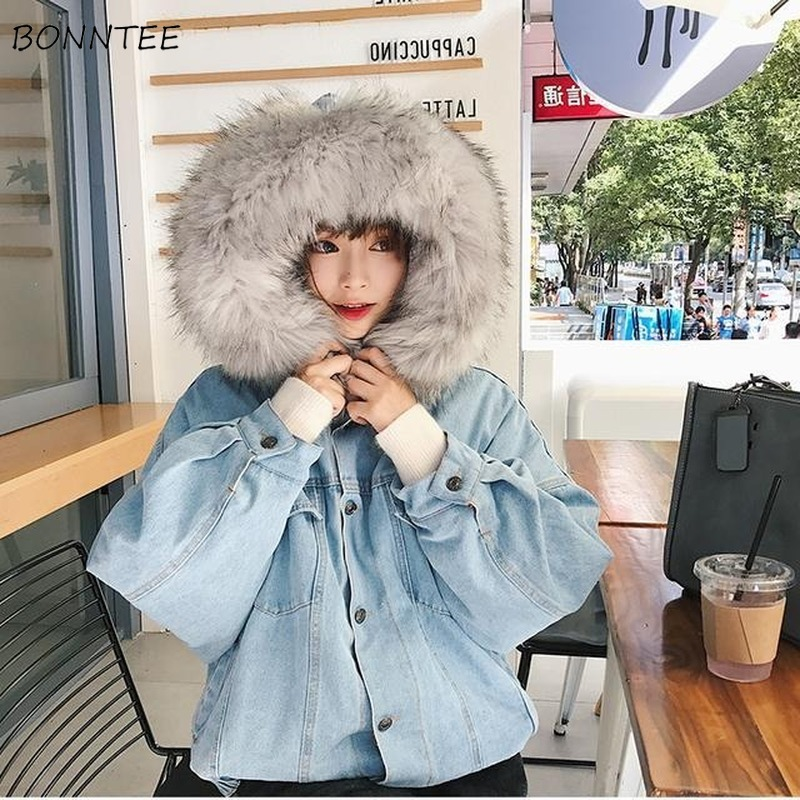 Basic     Jackets   Women with Fur Hooded Warm Velvet Student Womens Ulzzang Harajuku Fashionable Comfortable Korean Style Street Wear