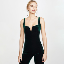 2019women  Long velvet jumpsuit Velvet Eclipse Jumpsuit - Dark Hunter Green