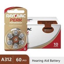60 個 Rayovac ピーク補聴器電池 A312 312A ZA312 312 PR41 U