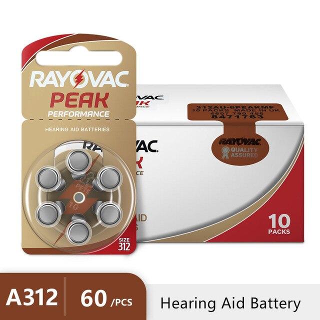 Батареи для слухового аппарата Rayovac Peak A312 312A ZA312 312 PR41 U, 60 шт.