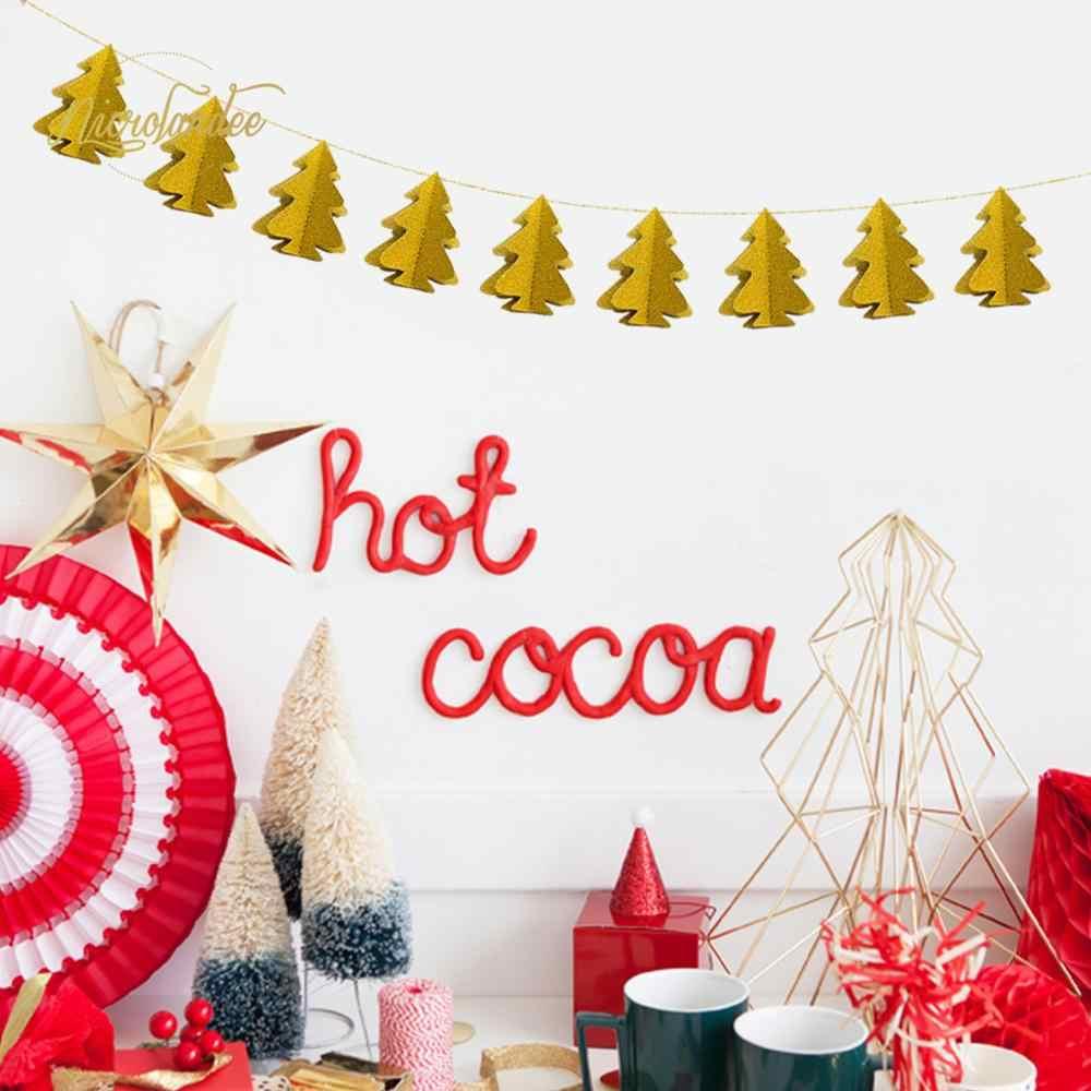 Nicrolandee 10 Uds Mini Papel De Navidad árbol De Navidad Decoración Garland 16 Colores Kerst Decoratie Banner Fiesta Natale 2019 75