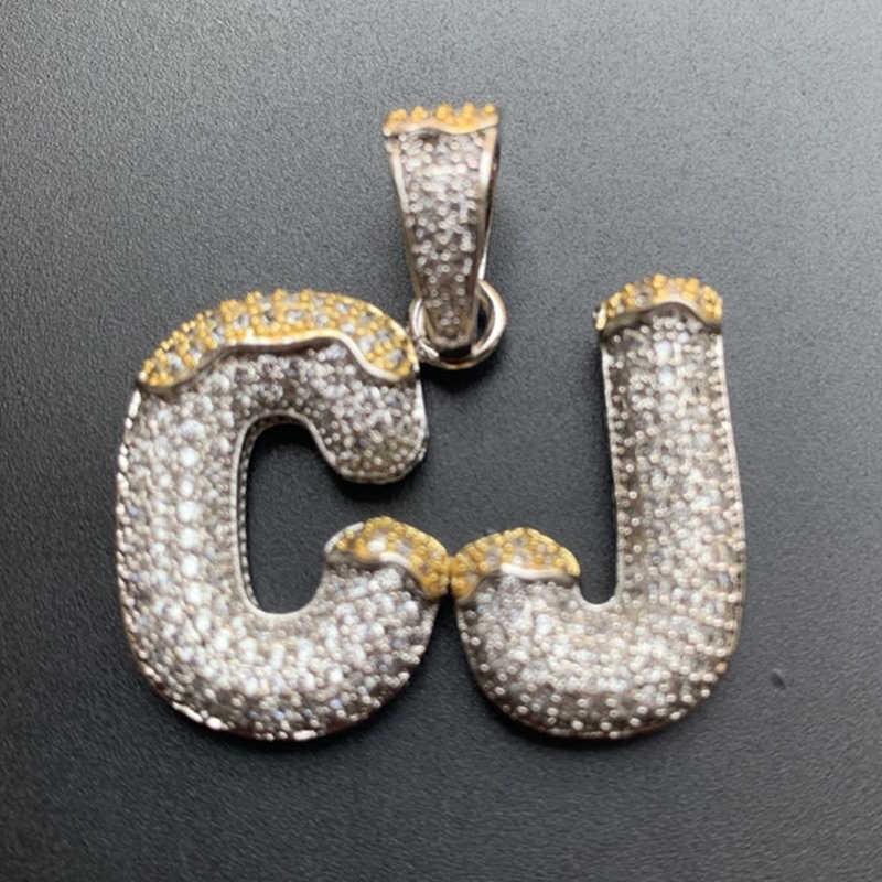Nazwa własna Bubble litery naszyjnik podwójny kolor z 4mm łańcuch tenisowy dla kobiet mężczyzn Cubic cyrkon Hip Hop biżuteria prezent
