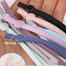 100Pcs Mask Sewing Elastic Band Cord with Adjustable Buckle Stretchy Mask Earloop Lanyard Earmuff Rope DIY Making Supplies