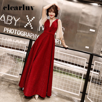 Burgundy A-Line Formal Evening Dress DR308 O-Neck Half Sleeve Women Banquet Gowns 2020 Shining Crystal Patchwork Robe De Soiree