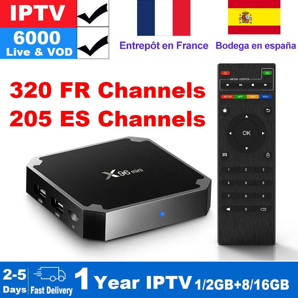 Boîtier IPTV français X96 mini Android TV avec 5200 + 1 an IPTV Europe abonnement France espagne Football IPTV M3U Smart IP TV Box