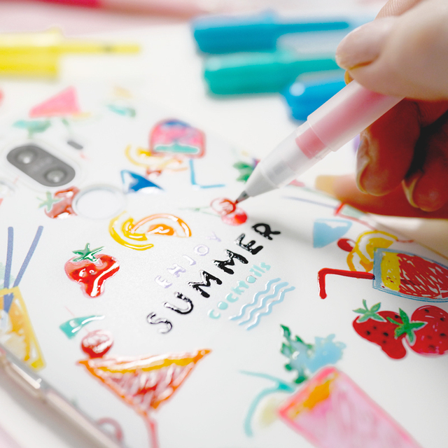 10 colori Sakura Gelly Roll Smalto Del Gel Penna Set di 3 dimensionale Lucido Penna A Inchiostro Impermeabile Rullo di Penna A Sfera Scuola forniture