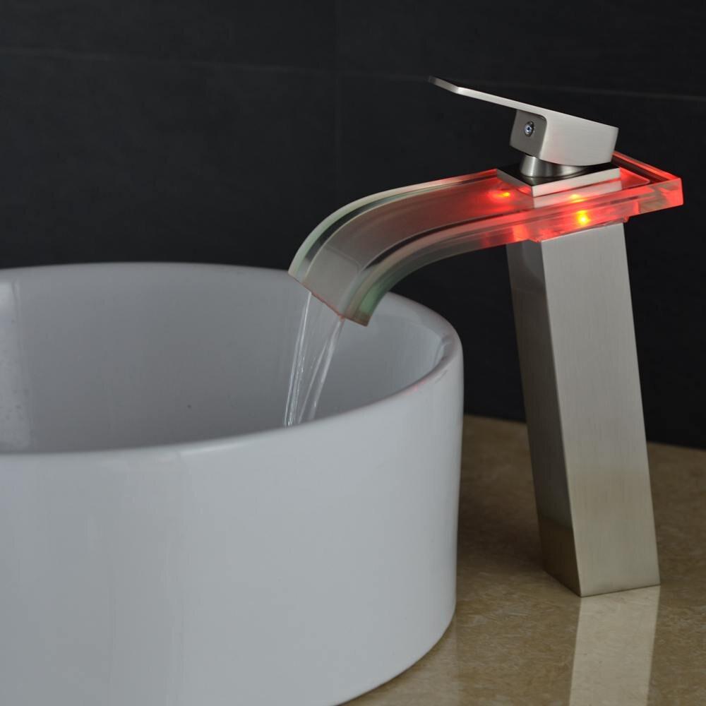 Vidric robinet haut brosse Nickel bassin salle de bain cascade LED robinets verre cascade laiton salle de bain mitigeur pont monté ELS40 - 6