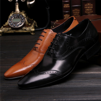 Oxford Mens Dress Shoes Formal Business Lace-up Full Grain Leather Wedding Party Shoes for Men B65