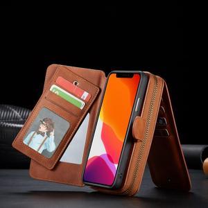 Image 5 - Zamek portfel skórzane etui dla iPhone 11 Pro Max Xr X Xs 8 7 6 6S Plus magnetyczny odpinany torebka etui pokrywa w/11 posiadacz karty