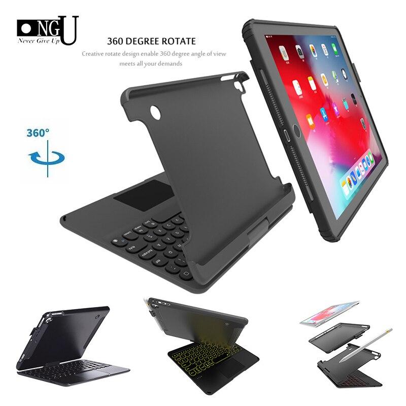 Cove para Ipad 2020 para o Ipad ar 360 Girando Iluminação Colorida Touchpad Bluetooth Teclado Case 5 6 9.7 2020 Pro9.7 – Air2