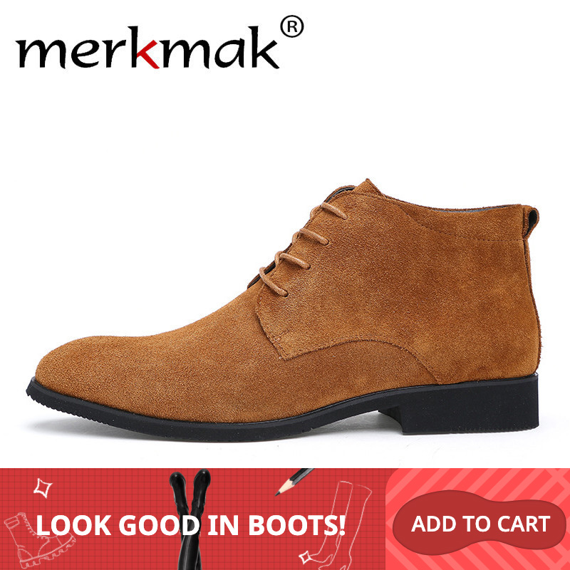Merkmak Winter Men Boots Warm Ankle Fur Plush Formal Solid Leather Boots Man Outdoor Comfortable Casual Male Dress Shoes Flats