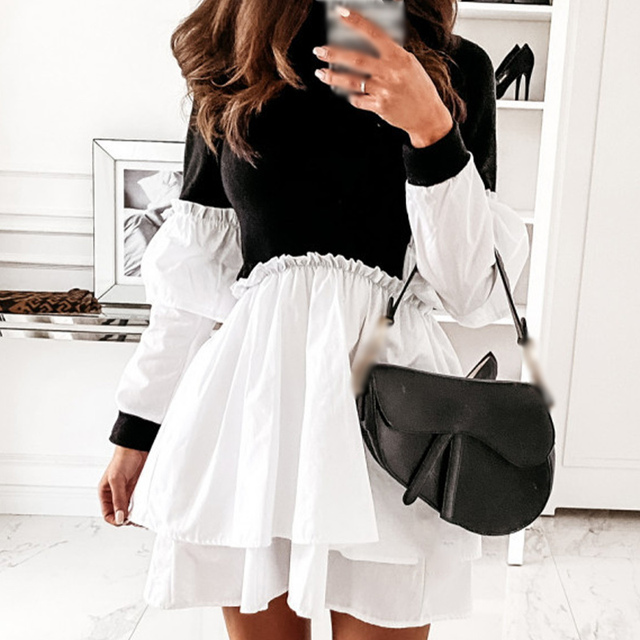 Women Faux Leather Patchwork White Shirt Dress 2021 Spring Casual Long Sleeve Plaid Chic Dress Lady Mini A Line Office Vestidos 6