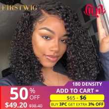 Firstwig Lace Wig Human-Hair-Wigs Short Bob Curly Lace-Front 180-Density Black Women