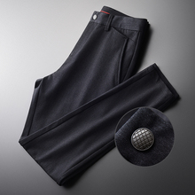 Minglu Mens Pants Luxury Soft Fabric Simple Casual Male Pants Autumn And Winter Solid Color Slim Fit Man Trousers Plus Size 4XL