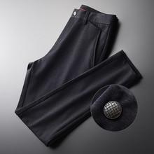 Minglu Mens กางเกงหรูหราผ้านุ่มสบายๆกางเกงชายฤดูใบไม้ร่วงและฤดูหนาว SLIM FIT กางเกง PLUS ขนาด 4XL