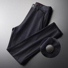 Minglu hommes pantalons de luxe doux tissu Simple décontracté homme pantalon automne et hiver couleur unie Slim Fit homme pantalon grande taille 4XL