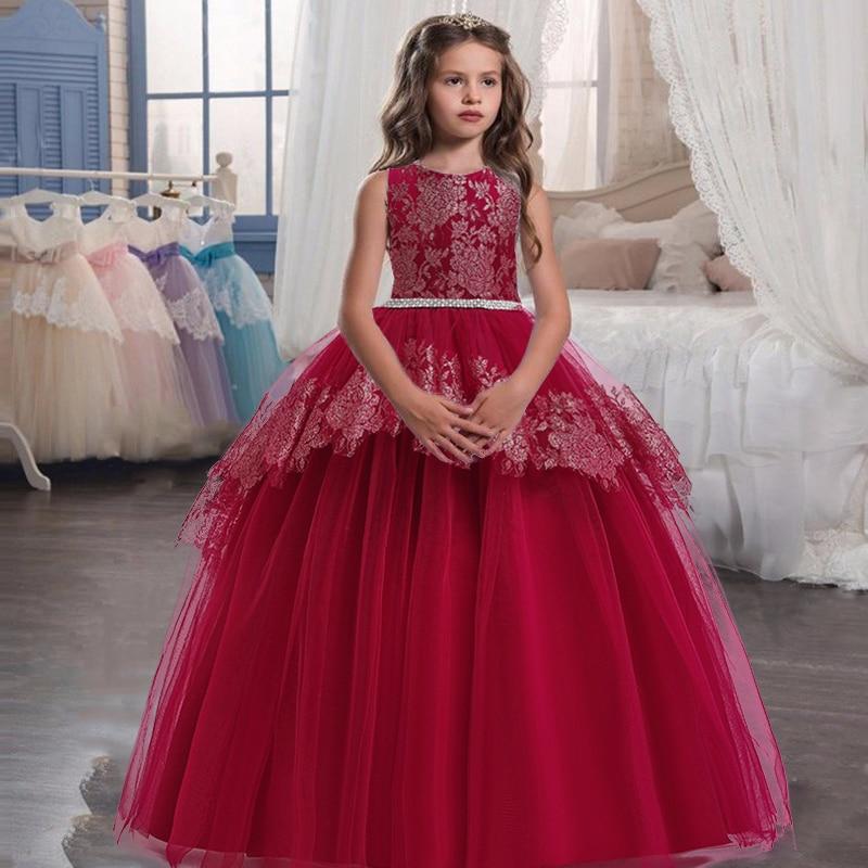2021 hiver adolescent Pageant soirée robe de soirée pour enfants fille enfants vêtements princesse robe élégante filles robe 10 12 ans