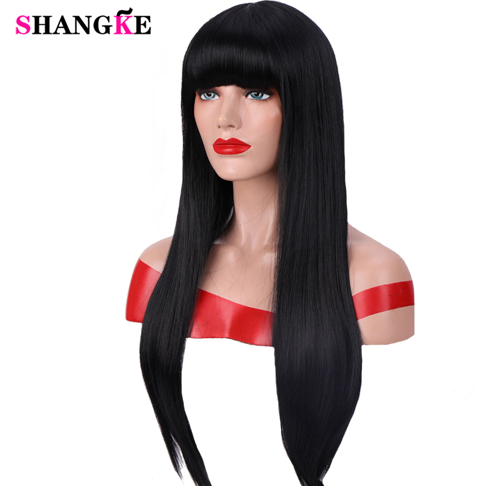 SHANGKE 24 ''Long Straight Black With Bangs Wig Synthetic Hair For Women Heat Resistant Fiber Daily False Hair