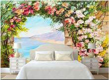 Custom mural 3d wall mural Fantasy beautiful love sea arch flower landscape oil painting photo wallpaper in the living room(China)