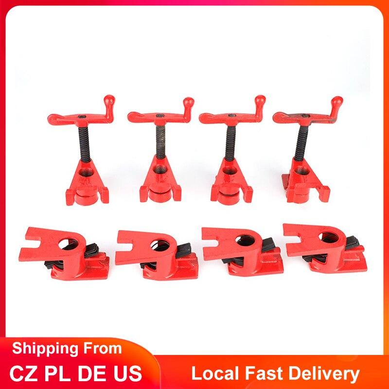 4 Set ağaç İşleme kelepçeleri 3/4 inç hızlı bırakma ağır iş ahşabı Metal boru kelepçesi dökme demir fikstür marangoz araçları