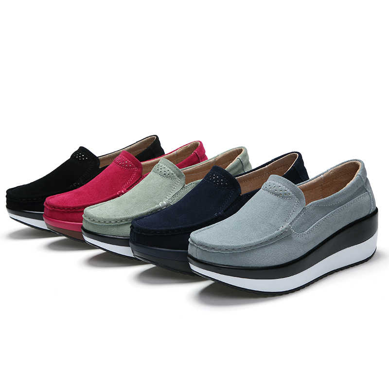 Frauen Wohnungen Schuhe Plattform Heels Müßiggänger Slip auf Damen Schuhe Frauen Leder Wildleder Sneaker Weibliche Creepers Mokassins Frühling 2019