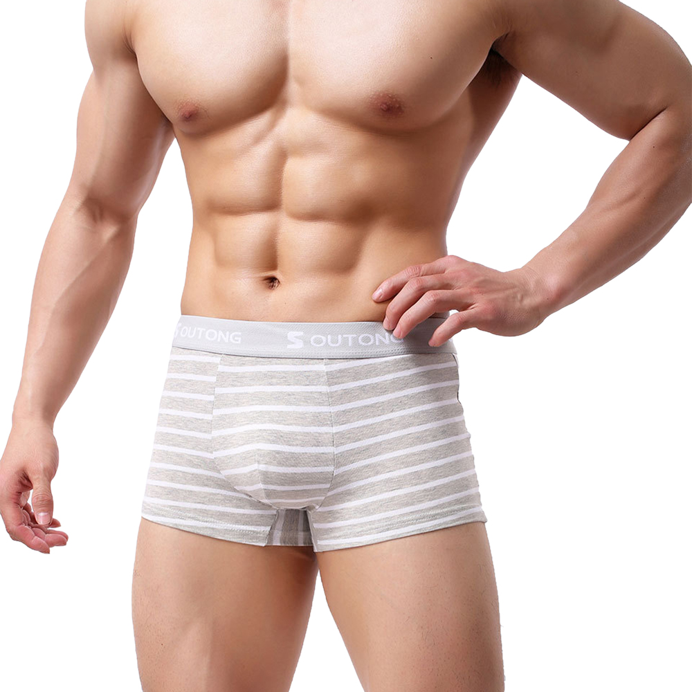 SHUJIN Stripe Printed Men Boxer Breathable Sexy Men Comfortable Men Under Pant Men Casual Underwear Wholesale 2020