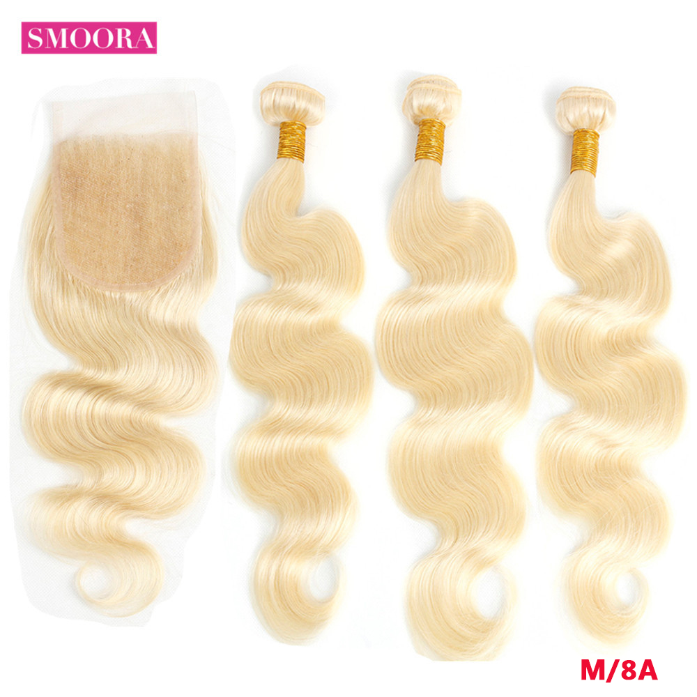 613 Blonde Bundle With Closure Brazilian Remy Body Wave Light Blonde Human Hair 3 Bundles With Closure 4*4 Inch Baby Hair Smoora