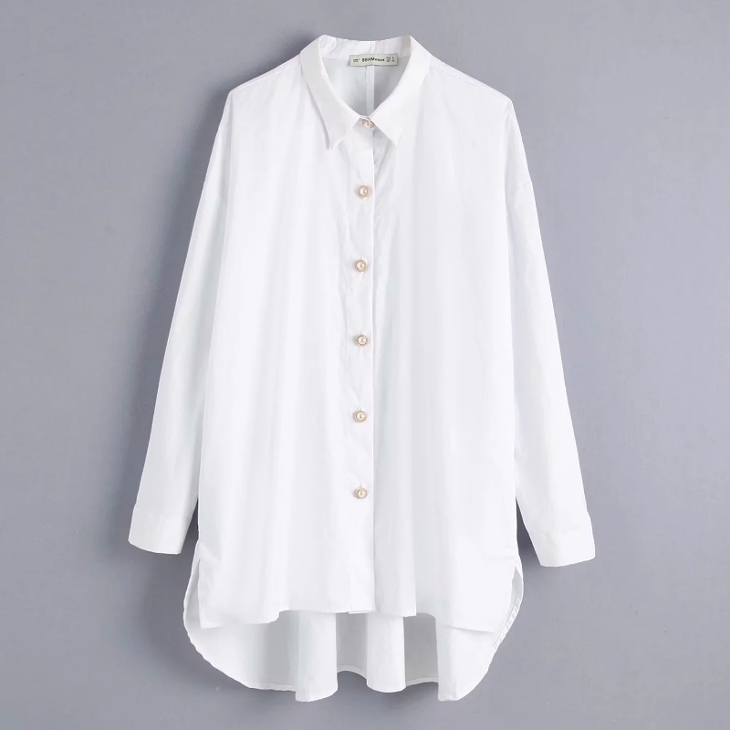 women solid color pearl buttons casual smock   blouse     shirts   women long sleeve loose blusas elegant white femininas tops LS4232
