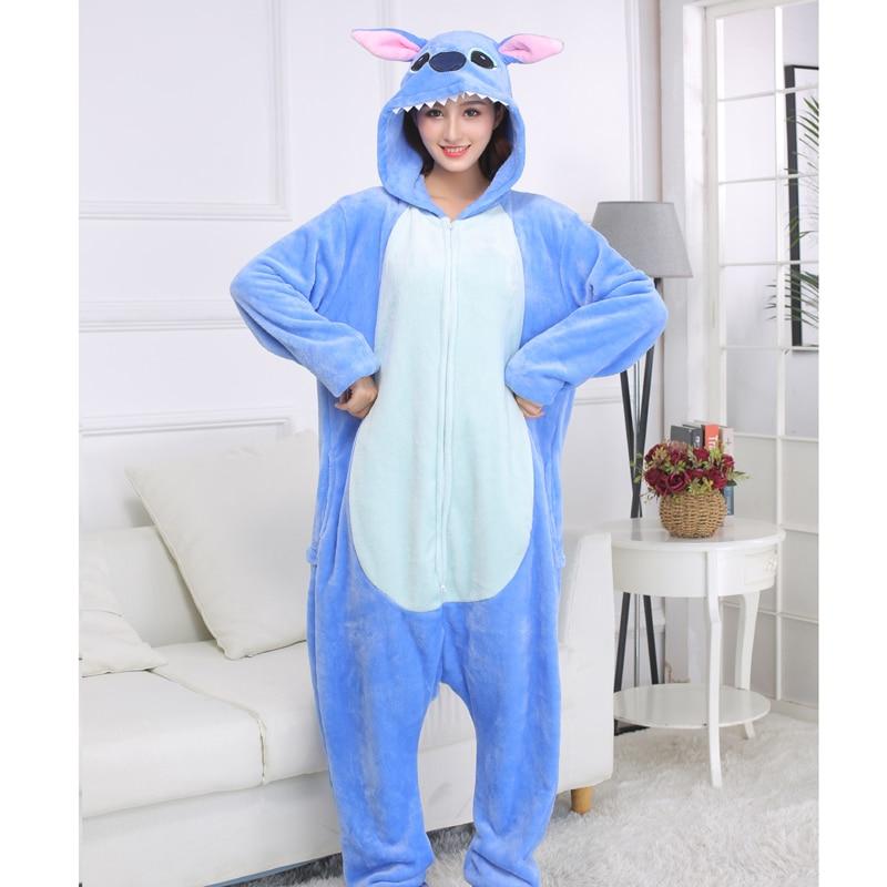 XXL Suit 180-200cm Stitch Onesies Cartoon Animal Pajamas Kigurumi For Adults Women Men One-Piece Winter Pijamas Cosplay Costume