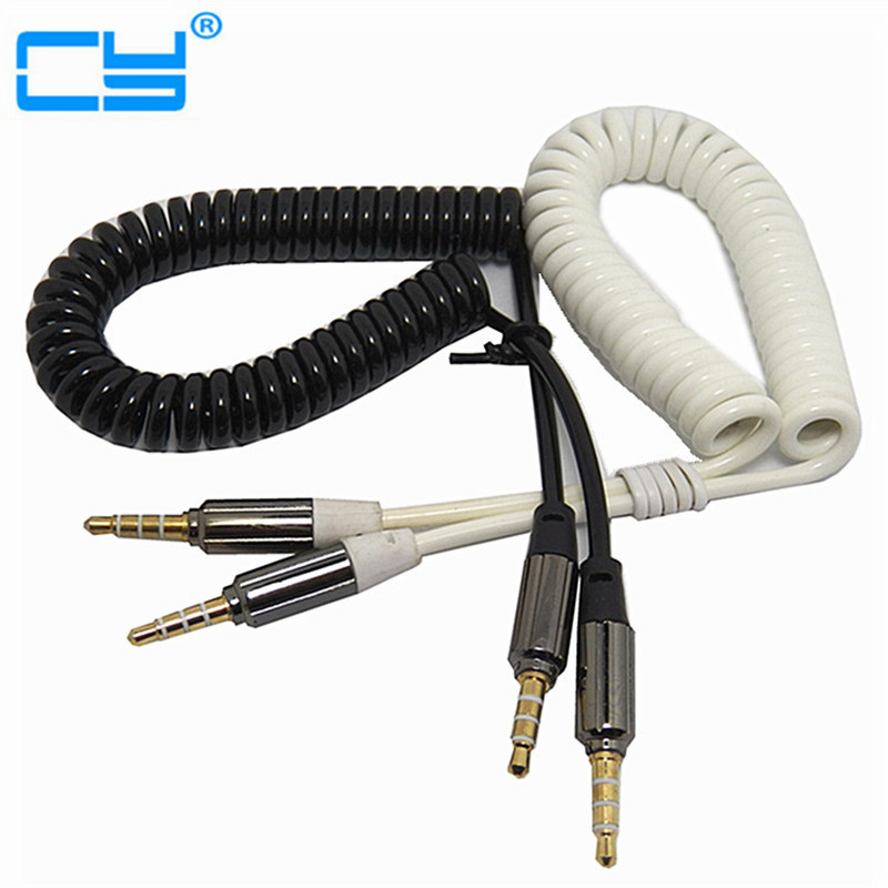 Male To Male 3.5mm 4Pole Stereo Cable Aux Audio Headphone Curly Elasticity Cord Free Shipping