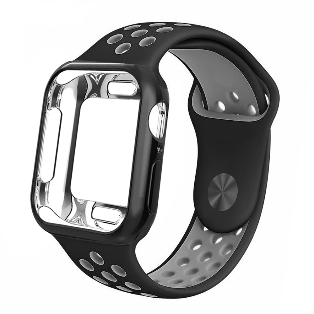 Case + strap for Apple Watch 5 band 42mm 38mm 40mm 44mm sports silicone bracelet for apple iwatch series 5 4 3 2 1 Accessories