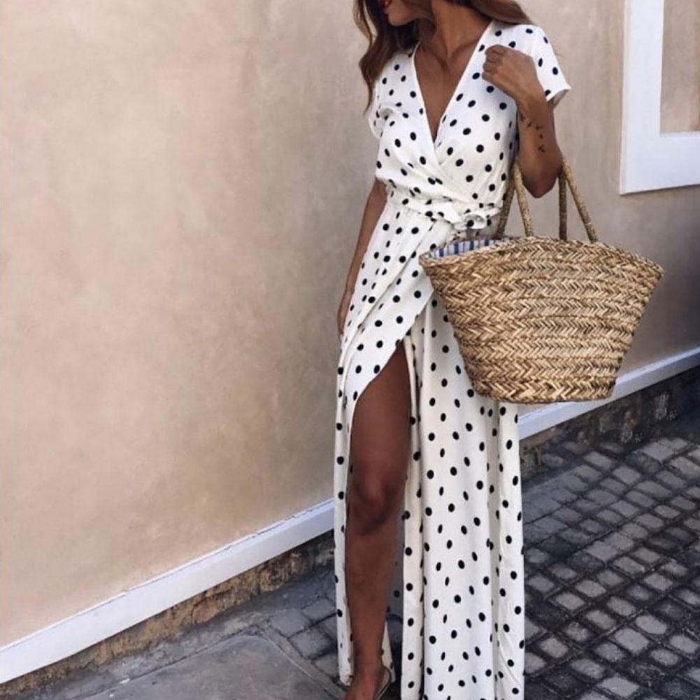 Summer Women Beach Party Sexy Deep-V Polka Dot Slits Short Sleeve Maxi Dress