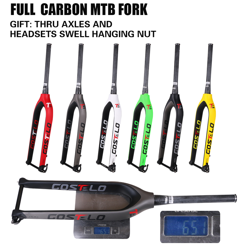 2017 Costelo Full Carbon Mtb Fork 29er Mountain Bikes Rigid Fork For Bicycle Parts Thru Axle 15mm Bicycle Fork Free Shipping