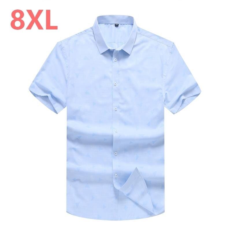 10XL 8XL 6XL 5XL Men's Short Sleeve Regular-fit Oxford Print Dress Shirt High-Quality Thin Smart Casual Factory-direct-clothing