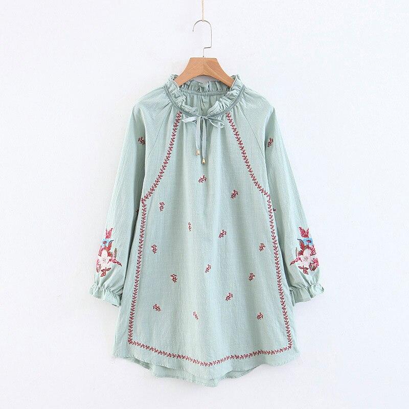 Boho Blouse chic lanterne manches longues coton blouse floral brodé o-cou lâche décontracté bohême Blouses pour femmes blusa