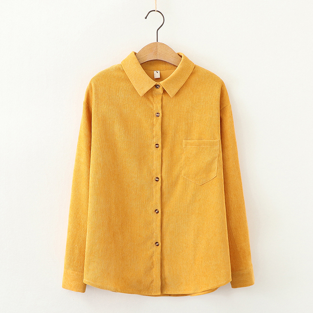 EYM Brand Solid Color Women's Corduroy Shirt 2021 Spring New Women Long Sleeve Blouse Casual Large Size Loose Blouses Lady Tops 5