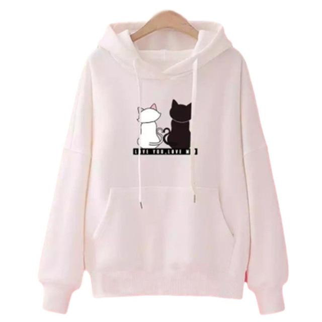 Streetwear Hoodies Women Sweatshirt Autumn Long Sleeve Hoodies Harajuku Hoodie Cute Cat Print Sweatshirt Women Sudadera Mujer 5