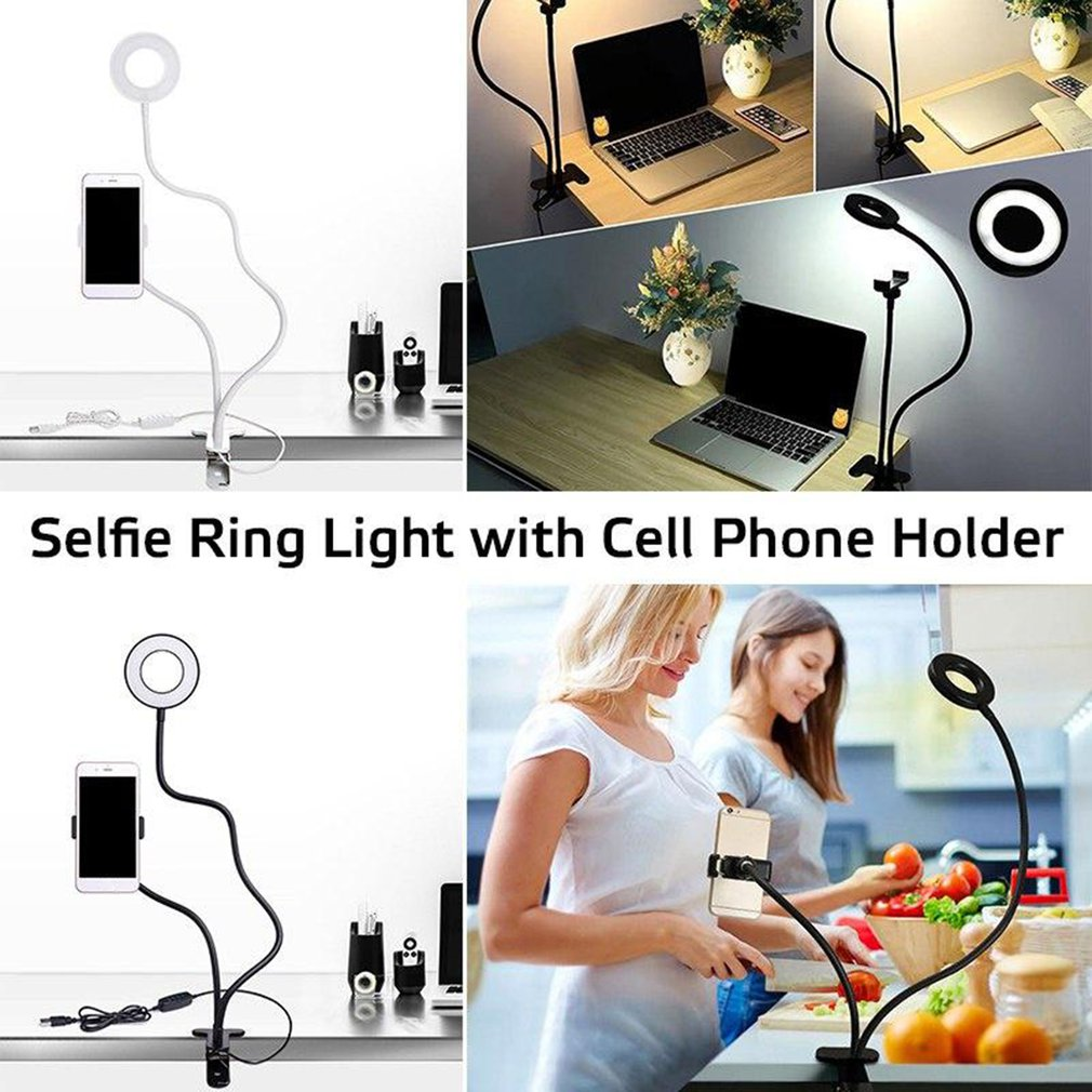 Cell Phone Holder with LED Selfie Ring