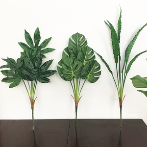 Image 4 - 80cm 7fork Large Artificial Tropical Tree Fake Plastic Plant Branch Big Green Palm Tree Monstera Foliage for Autumn Home Decor