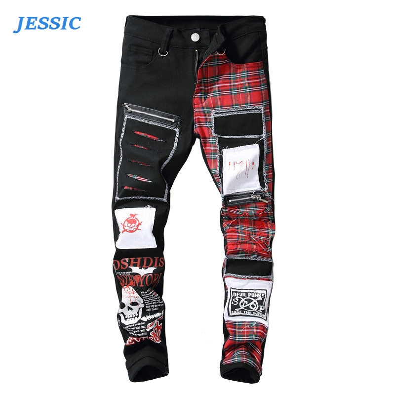 JESSIC Men's Skull Printed Scottish Plaid Patchwork Jeans Trendy Patches Design Black Ripped Distressed Denim Long Pants 28-42