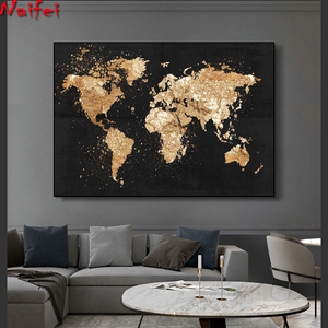 Abstract World Map diamond Painting Retro full diamond embroidery Modern Wall Art Picture for Living Room Study Home Decor