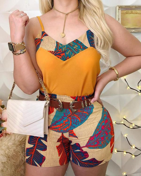 H40cd8e255851448a9e585cfd2f3a7bc2c - Sexy Ladies Spaghetti Strap Print Tops & Shorts Sets Summer Sleeveless  2 Piece Sets Women Outfits