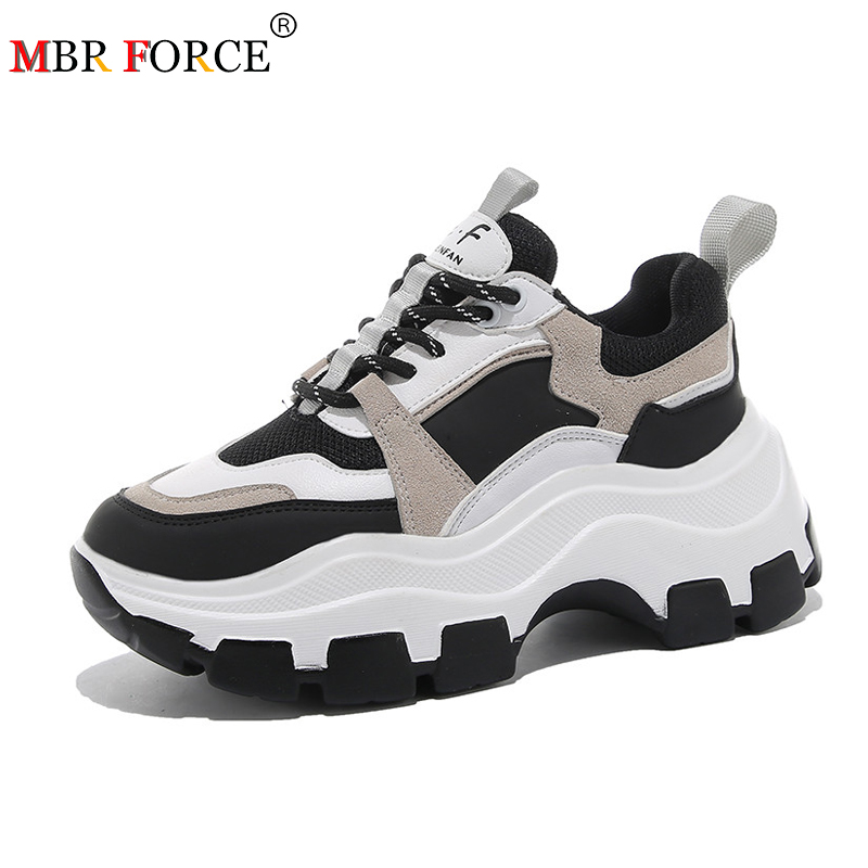 MBR FORCE Women's Chunky Sneakers Sulfur Shoes Korean Fashion New Female Black White Thick-soled Thick Sneakers Casual Shoes