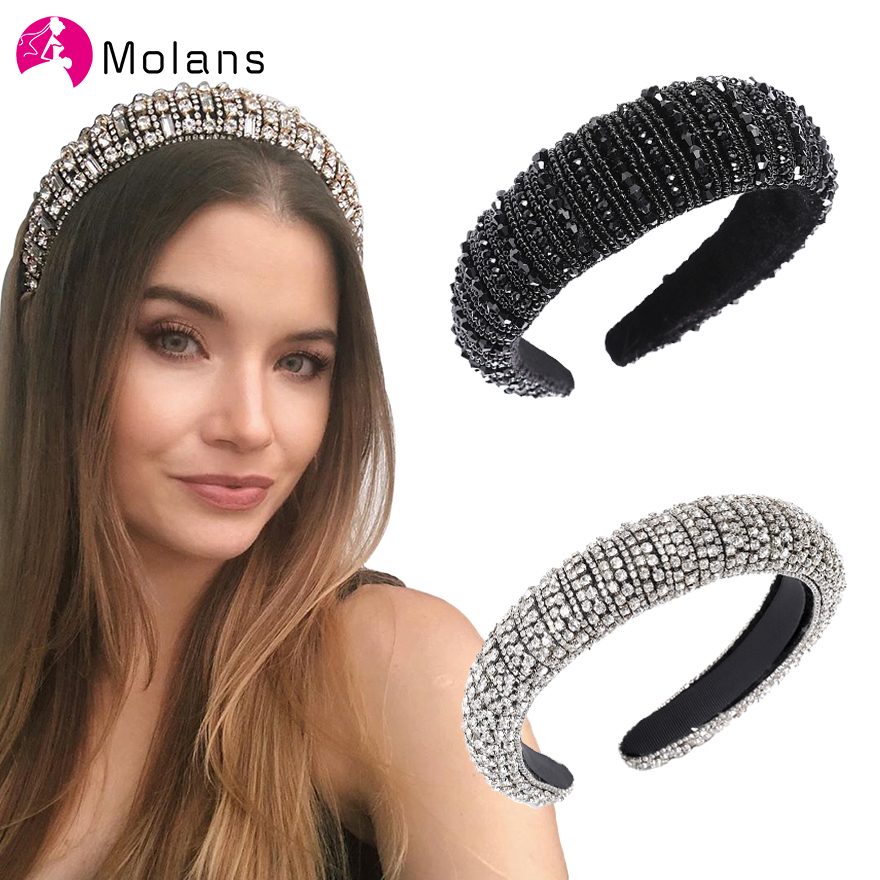 MOLANS Sparkly Padded Rhinestones Headbands Full Crystal Luxurious Limited Edition Hairbands Bejewled Black White Women Headband
