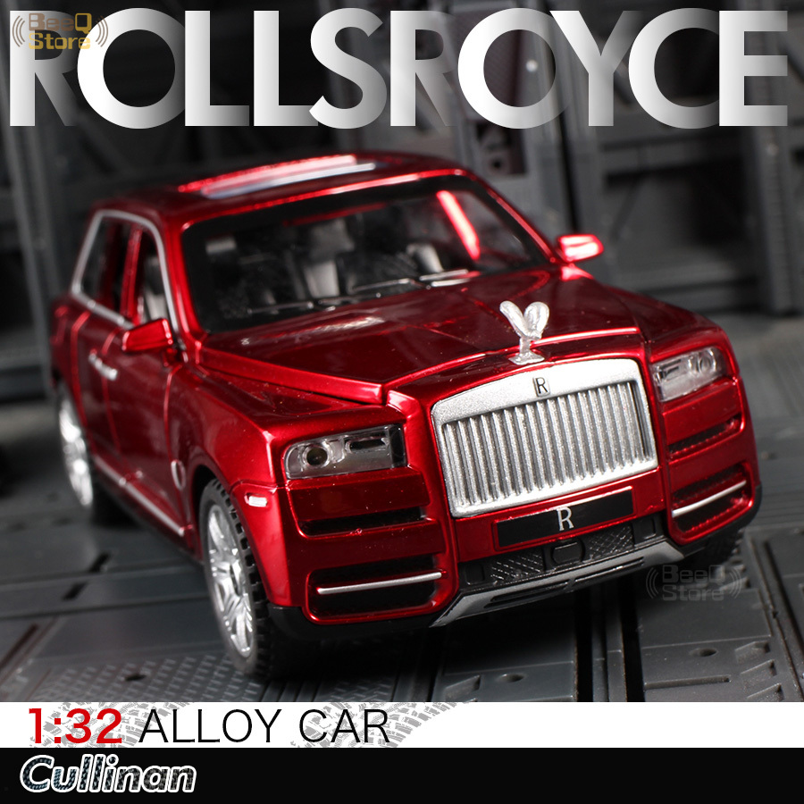 1:32 Alloy Car Model Rolls Cullinan Royce Diecast Light Sound Pull Red SUV Models Simulation Toys For Children Gift Collection
