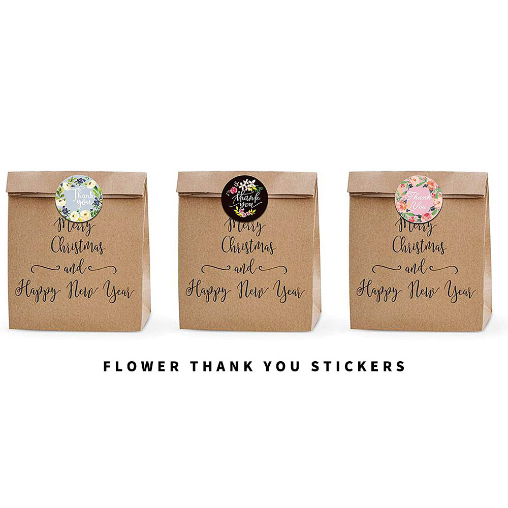 CiciBear 1000 Pieces Flower Thank You Stickers for Gifts Envelopes Bags and Party Favors,1 Inch in Diameter