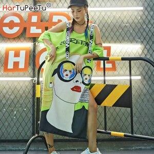 2020 Summer Women Dresses Sexy Off The Shoulder Strap Ribbon Cartoon Graffiti Printed Split Oversized T Shirt Dress New Hip Hop(China)