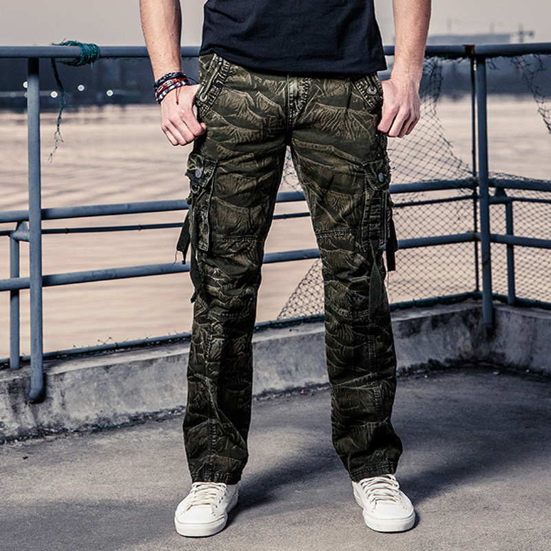Hot Selling Men's Casual Pants Cotton Washed Loose-Fit Multi-Pocket Workwear Pants Men's Pants