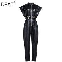 DEAT 2021 New Spring Summer Fashion Sexy Skinny nero a vita alta Slim Slim fusciacche tute senza maniche abito da donna SB296